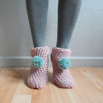 Knit Slippers, Women Slippers, Knit Slippers with Pompom, Pink Slippers, House Shoes, Winter Accessories