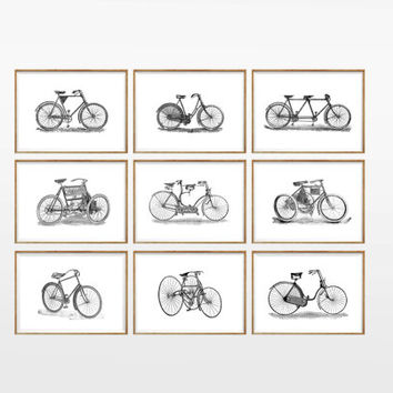 Vintage Bike Art Print SET of 9. UNFRAMED. A4. bike artwork, bike prints, bike poster, bike illustration, bike wall art, bike wall decor