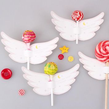 new 50pcs lollipop cover angel moon and star design children birthday wedding candy decorate holiday Christmas gift packaging