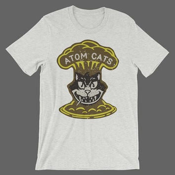 Fallout 4 'Atom Cats' T-Shirt // Retro Distressed Fallout Shirt // Vintage Atomic Theme Shirt // Fallout 3 Fallout New Vegas Vault 111 Shirt