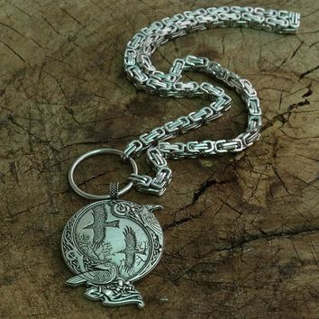Odin Raven Pagan Symbol pendant Viking men Norse Gods necklace Celt Norse Rune jewelry with stainless steel chain