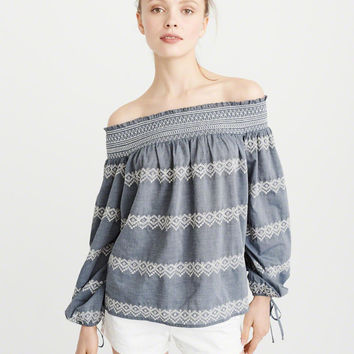 Womens Embroidered Off-The-Shoulder Top | Womens Tops | Abercrombie.com