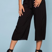 Sandy Wide Leg High Waist Culotte Pants - Black