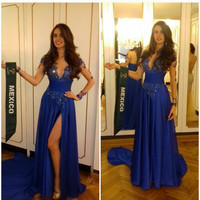 Long Sleeve Royal Blue Satin Prom Dresses