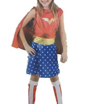 CaGiPlay Kids Halloween Costumes For Girls, Wonder Woman Costume Dress, Girl Anime Cosplay Clothing, Disfraces Carnaval