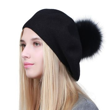 GEEBRO Fox Fur Pom Pom Beanies Winter Knit Cashmere Women Warm Hats