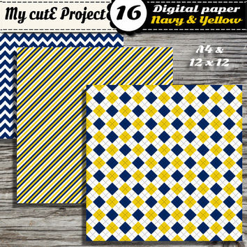 Digital paper Navy Blue and Yellow - Scrapbooking - 12x12 - A4 - Oblique stripes, polka dots, chevron, argyle, quaterfoil, diamonds