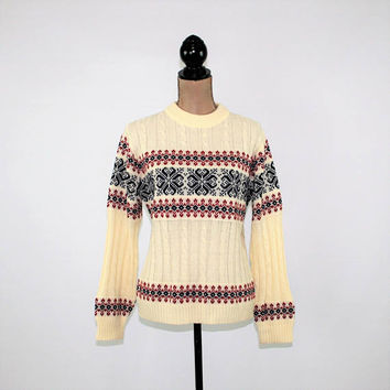 Vintage 70s Pullover Sweater Winter Nordic Ski Fair Isle White Red Blue Size Medium Unisex Vintage Clothing Mens Clothing Womens Clothing