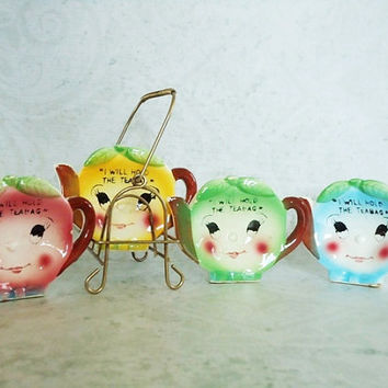 Vintage Teabag Holders - Breakfast Table Accessories - Teacup and Saucer Accessories