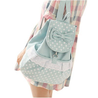 2015 Women Backpacks bow Brand school bag lace canvas Backpack dot printing travel Bags high quality girls bag drop shipping