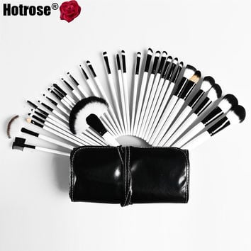 Hotrose Makeup Brush 32 pcs Makeup Cosmetic Brushes Synthetic Professional EyeBrow Powder Lipsticks Shadows Brush For Women
