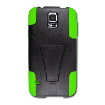 Galaxy S5 Case, Hybrid Dual Layer Armor[Shock/Impact Resistant] Case Cover with Built-in Kickstand for Samsung Galaxy S5 - Green