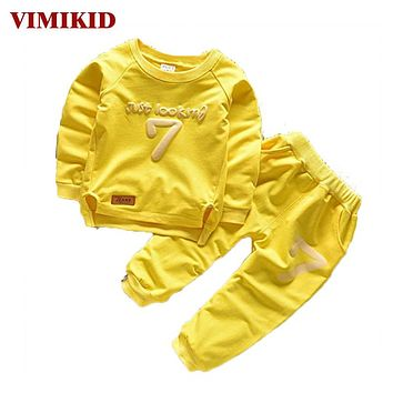 VIMIKID 2-6 Autumn Children Clothing Sets Boys Girls Warm Long Sleeve Sweaters+Pants Fashion Kids Clothes Sports Suit for Girls