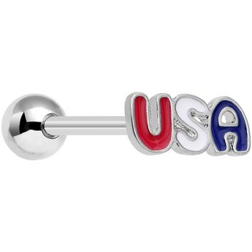 Red White and Blue Text Celebrate All Day USA Barbell Tongue Ring