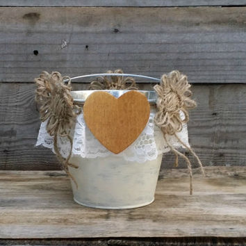 Rustic Flower Girl Bucket, Rustic Wedding Decor, Flower Girl Basket, Shabby Chic Wedding Basket