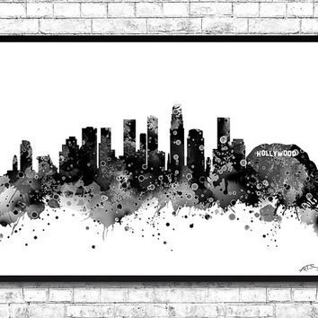 Los Angeles Watercolor Print City Skyline Los Angeles Poster City Watercolor Black City Silhouette Wall Hanging Home Decor Giclee art