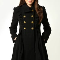 Bianca Wool Look Frill Front Gold Button Box Pleat Coat