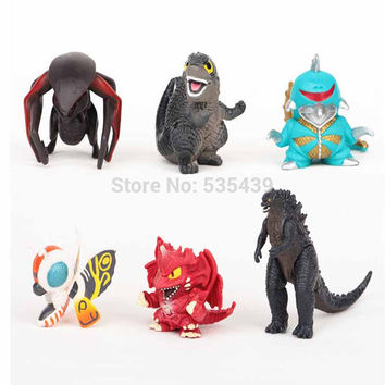 Godzilla 6pcs/set  5cm figure Action Figure Model toys SQ12017 80's hwd