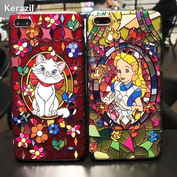 Kerzzil Snow White Mermaid Cute Case For iPhone7 6 6s Plus 3D Relief Cartoon Hard PC Phone Back Cover Case For iPhone X 6 8  6S