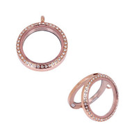 Rose Gold Floating Locket With Clear Crystals - (large - 33mm)