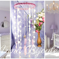 Pink Violet Baby Mobile handmade exclusive Dreamcatcher bedroom Baby Mobiles bedding Dream Catcher Kids Dream catchers Pink Violet balance