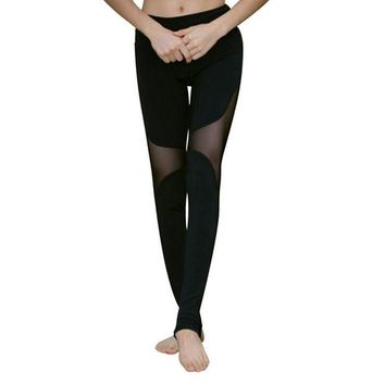 DCCKH6B New Fashion Lady Quick-drying Women's Trample Feet Leggings Mesh Yogaing Fitness Hollow Stretch Workout Leggings CN58