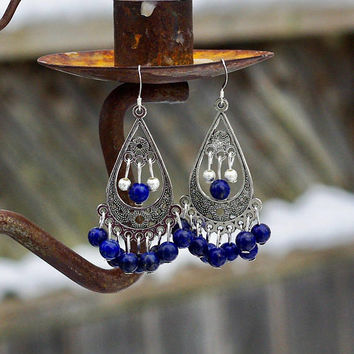 Lapis Lazuli Bohemian Blue Earrings ~ Chandelier Earrings ~ Tibetan Silver Teardrop ~ Boho Style Jewellery ~ Statement Pieces ~ Elegant Gift