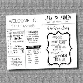 Personalized DIGITAL File: Welcome to the Best Day Event- Wedding Program Fan with Love Story