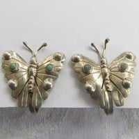 Vintage Sterling Butterfly Earrings Turquoise Screw Back Earrings Mexico Silver Signed FM Butterfly Jewelry