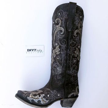 Corral Black Overlay & Embroidery & Studs & Crystals Boot