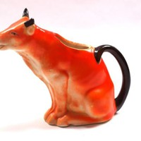 Antique 1930's Czech Orange Cow Creamer Pitcher Marked Stamped