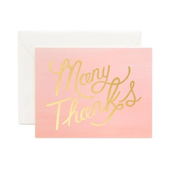 Ombré Many Thanks Greeting Card by RIFLE PAPER Co.   Made in USA