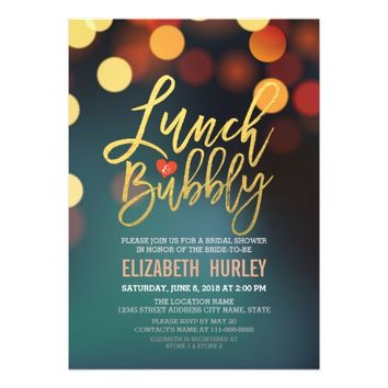 Teal Gold Bokeh Lights Lunch Bubbly Bridal Shower Card