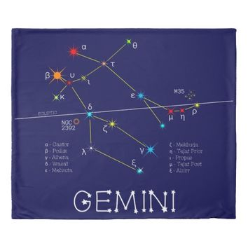 Constellation GEMINI unique, elegant Duvet Cover