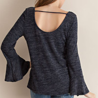 Two Tone Bell Sleeve Top - Navy