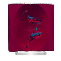 Spoonbill Abstract Decor Shower Curtain