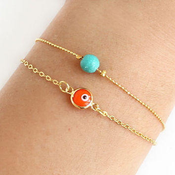 Evil eye bracelet orange turquoise bracelet gold plated ball chain dainty istanbul turkey jewelry ethnic arabic best friend birthday gift