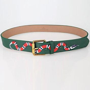 GUCCI Trending Women Men Stylish Snake Print Smooth Buckle Belt Green I/A