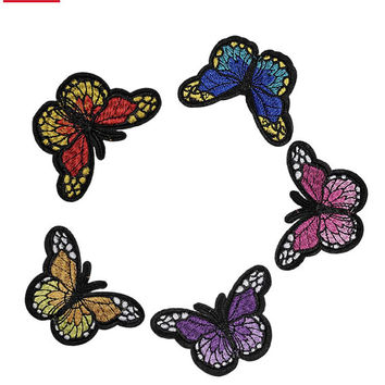 BUTTERFLY Iron on / sew on Embroidery Patch Butterflies Badge insect Embroidered Applique Motif