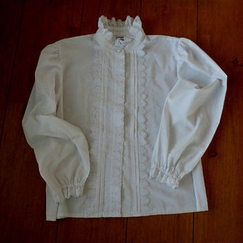 White Button Down Pleated Eyelet Lace Victorian Style Blouse, Puffed Long Sleeve, Size Large