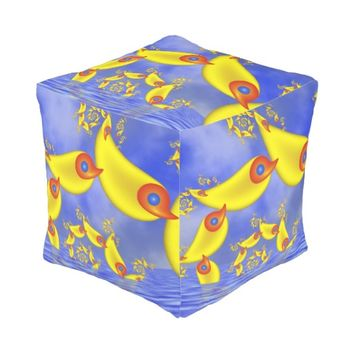 Fantasy Animals for Children Fractal Art Pouf