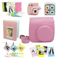 7 in 1 instax Mini 8 Instant Film Camera Accessories Bundles ( Pink Instax Mini 8 Case/ Mini Album/ Close-Up Selfie Lens/ 4 colors Close-Up Lens/ Wall Hang Frames/3 inch Film Frame/ Film Stickers)