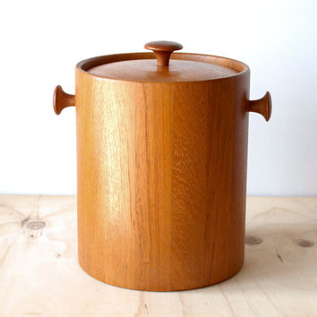 Mid Century Modern Teak Ice Bucket Digsmed Dansk Style Ice Bucket MCM Mad Men Style Large