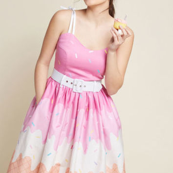 Collectif Abide by Timeless Fit and Flare Dress in Ice Cream