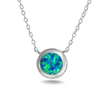 Solitaire Bezel Blue Created Opal Pendant Necklace Sterling Silver