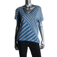 DKNY Jeans Womens Knit Short Sleeves Pullover Top