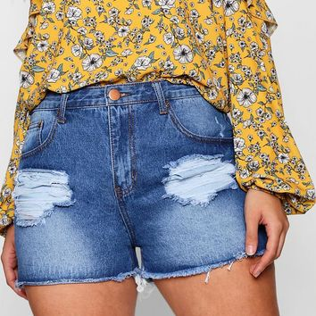 Plus Lilly Turn Up Fray Hem Distressed Short | Boohoo