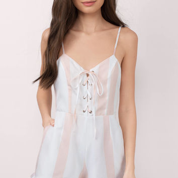 Adeline Striped Lace Up Romper