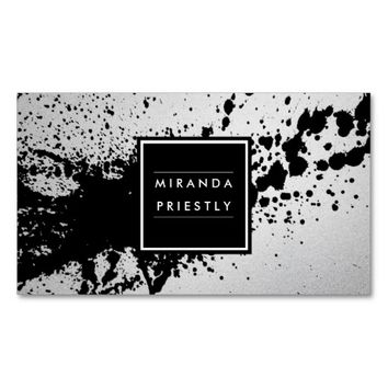 Black & White Foil Splash Fashion Stylist Designer Business Card