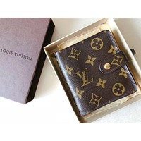 """LV Louis Vuitton Monogram Coated Canvas """"Compact Zip"""" Wallet Brown B-MYJSY-BB"""